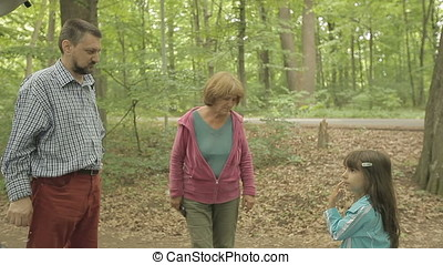 Father Granny Daughter Niece in Forest - Father and granny...