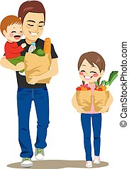 Father Grocery Shop With Kids