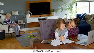 Father helping girl in her studies in living room 4k