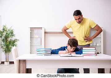 Father helping his son to prepare for school