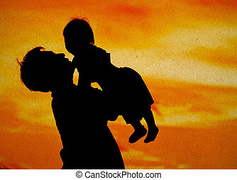 Father hold and kiss baby with love, color of love with paper background