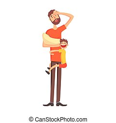 Father Holding A Baby In Arms With Another Kid Hanging On His Leg, Part Of Family Members Series Of Cartoon Characters