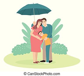 Father holding an umbrella for his family