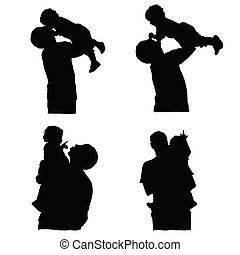 father holding baby silhouette vector