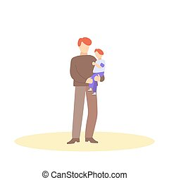 Father holding child in his arms. Happy family. Flat cartoon character on isolated white background.