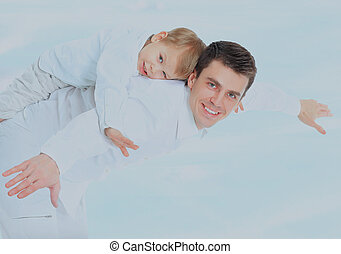 Father holding his son.