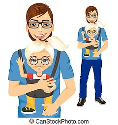 father holding little girl with baby carrier