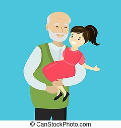 Father holds a daughter in his arms, isolated on white background