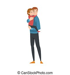 Father holds in his arms a child who hugs him cartoon vector illustration