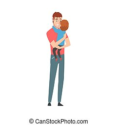 Father holds little son in his arms cartoon vector illustration