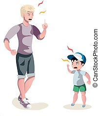 father is arguing with his son. Vector illustration