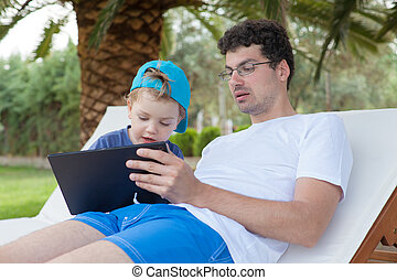 Father Kid Boy Tablet