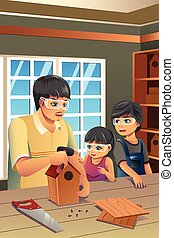 Father Kids Making Birdhouse - A vector illustration of ...