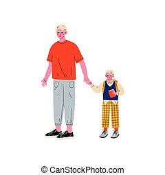 Father Leading His Son Student to School, Cute Boy and His Dad Holding Hands Vector Illustration