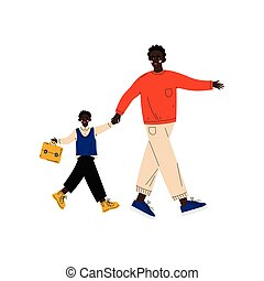 Father Leading His Son Student to School, Cute Boy and His Dad Walking Together Vector Illustration