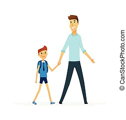 Father leads son to school - cartoon people characters isolated illustration
