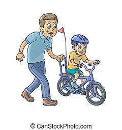 Father learn his little son to ride a bicycle.