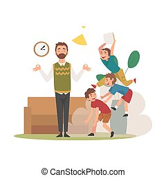 Father Meditating while His Mischievous Sons Having Fun at Home, Naughty, Rowdy Children, Bad Child Behavior Vector Illustration