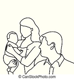 father mother and baby vector illustration sketch hand drawn with black lines, isolated on white background. family concept.