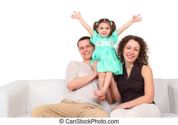 Father, mother and daughter on white leather sofa