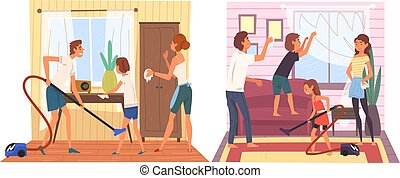 Father, Mother and Their Children Doing Housework Together Set, Family Cleaning Home on Weekend Vector Illustration
