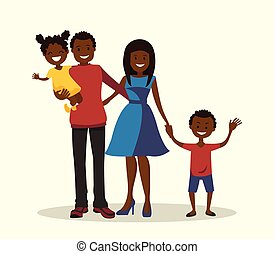 Father, mother, son and daughter. African-American family.