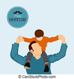 Father playing with a child vector illustration. Father giving son ride on back in park.