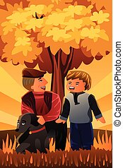 Father playing with his son and their dog - A vector...