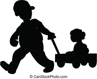 father pulling daughter in wagon - daughter in wagon being...