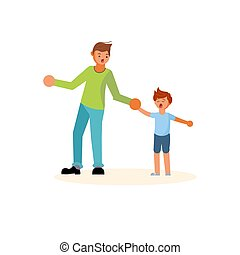 Father pulls the hand of a capricious son. Concept of ...