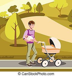 Father pushing a stroller in the park