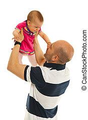 Father rasing baby girl