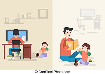 Father read book with little daughter