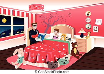 A vector illustration of father reading a bedtime story to his daughter