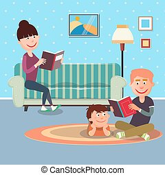 Father Reading Book to his Son. Mother Reading Book
