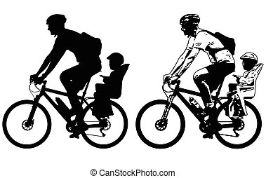 father riding a toddler in bicycle baby seat silhouette and sketch