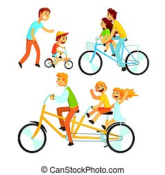 Father riding his children on a bicycle, set for label design. Father teaching his son to ride a bike. Colorful cartoon detailed Illustrations