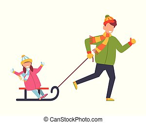 Father rolls his daughter on a sled. Vector illustration on white isolated background