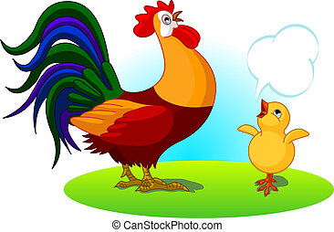 The mighty father rooster crows, and the little chick son imitates.