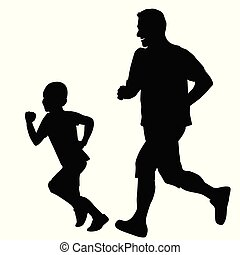 Father running with his son.eps