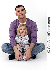 Father sat with daughter