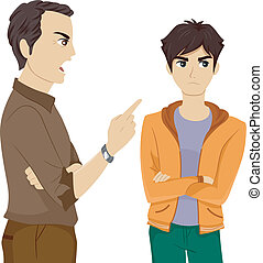 Father Scolding Son - Illustration of a Father Scolding His...