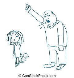 Father scolds his daughter.