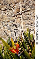 Father Serra Statue Mission San Juan Capistrano Church Ruins Cal