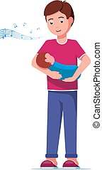 Vector illustration father singing a lullaby song to her baby. Isolated white background. Man singing a lullaby to a newborn. Flat style.