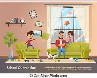 Father Sits with Children Home School Quarantine