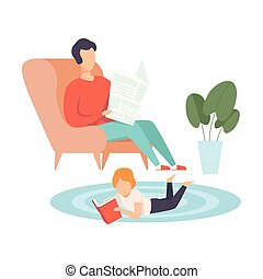 Father Sitting in Armchair and Reading Newspaper, His Little Son Lying on Floor on His Stomach and Reading Book, Family in Everyday Life at Home Vector Illustration