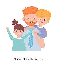 Father son and daughter vector design - Father son and ...
