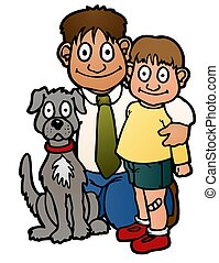 Father son and dog - Father, son, and their dog, family ...