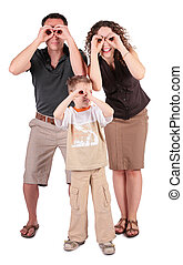 father,  son and mother look in field-glasses from hands